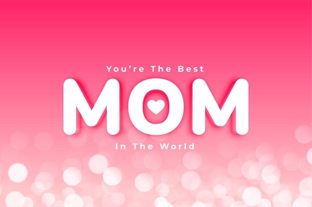 Meilleure carte de fête des mères avec effet bokeh