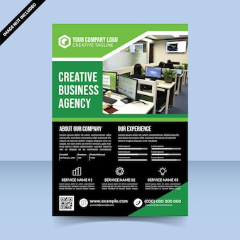 Meilleure conception de modèle de flyer d'agence de création d'entreprise noire verte