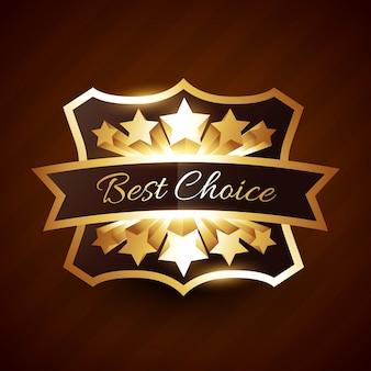 Meilleure étiquette de choix avec étoiles dorées et ruban