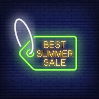 Meilleure étiquette de vente d'été en style néon. balise de vente lumineuse avec lettrage à l'intérieur. annonceurs lumineux de nuit