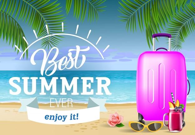 Meilleure inscription en été avec plage de mer et valise. offre d'été