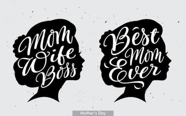 Meilleure inscription de patron de maman et de femme