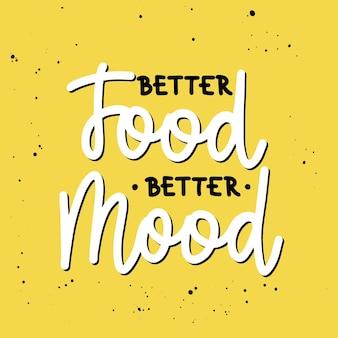Meilleure nourriture meilleure humeur calligraphie au pinceau lettrage manuscrit sur jaune