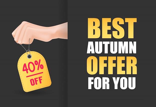 Meilleure offre d'automne pour vous lettrage avec une main tenant une étiquette