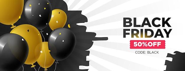 Meilleure offre bannière vendredi noir avec des ballons et des confettis