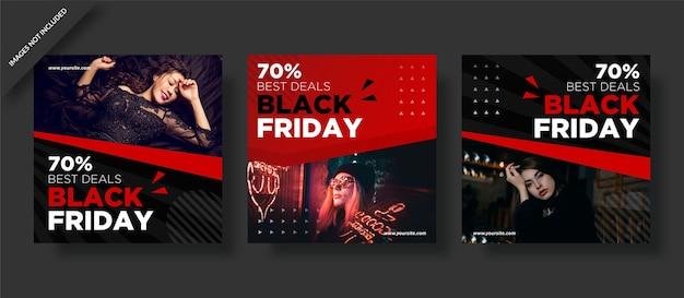 Meilleure offre limitée black friday instagram post set