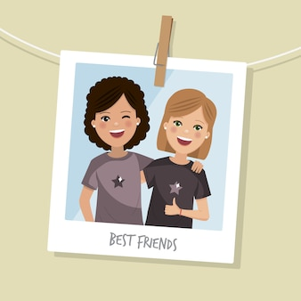 Meilleure photo d'amis. deux filles heureuse souriant avec les cheveux courts. illustration vectorielle