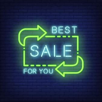 Meilleure vente pour vous lettrage dans le style néon. texte incandescent et direction verte