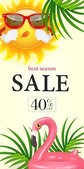 Meilleure vente de saison quarante pour cent de lettrage. inscription commerçante avec des feuilles tropicales