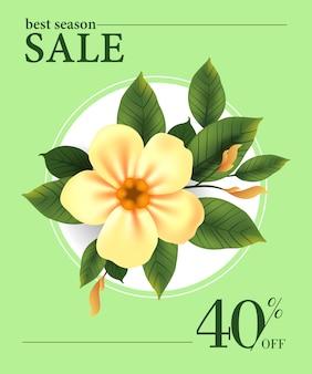 Meilleure vente de saison, quarante pour cent de réduction affiche avec fleur jaune en cadre rond