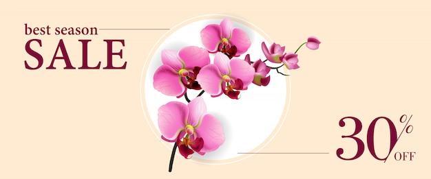 Meilleure vente de saison trente pour cent sur bannière avec des fleurs roses dans un cercle blanc