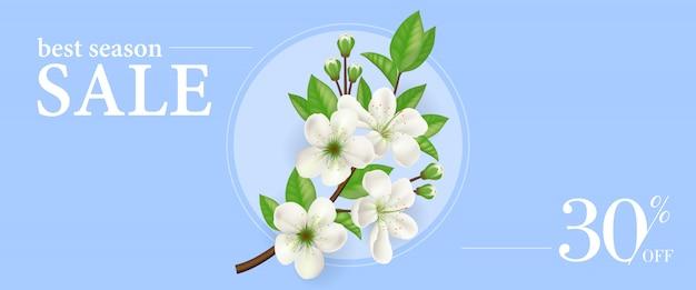Meilleure vente de saison trente pour cent sur le modèle de bannière avec une brindille de pommier en fleurs