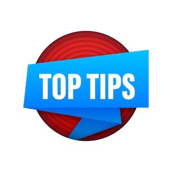 Meilleures astuces. bannière avec top conseils isolé sur fond blanc. création de sites web. illustration vectorielle de stock.
