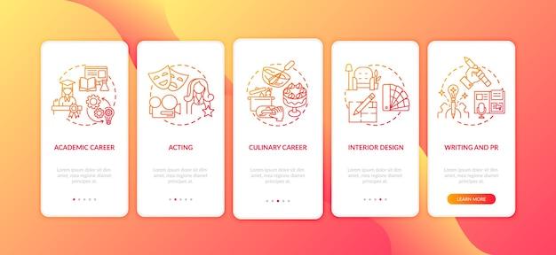 Meilleures carrières pour les penseurs créatifs sur l'écran de la page de l'application mobile d'embarquement avec des concepts.