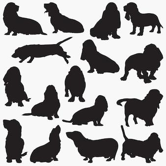 Meilleures silhouettes de chien de chien de chasse