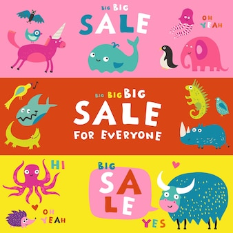 Meilleurs alphabets pour enfants livres abc aides à l'apprentissage 3 bannières publicitaires de vente horizontale colorée ensemble isolé