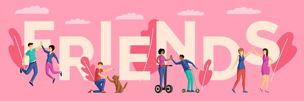 Les meilleurs amis couples illustration plate. types d'amitié, loisirs ensemble, gens heureux et personnages de dessins animés de chiens. amis mot concept bannière avec des éléments décoratifs sur rose