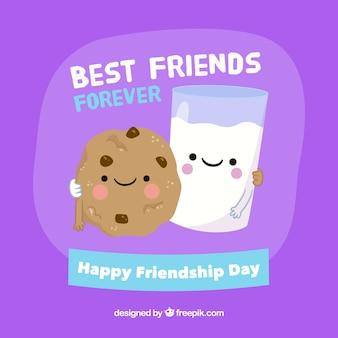 Les meilleurs amis forisent le fond avec du lait et des biscuits