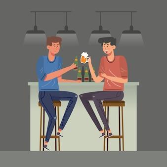 Meilleurs amis grillant ensemble illustrés