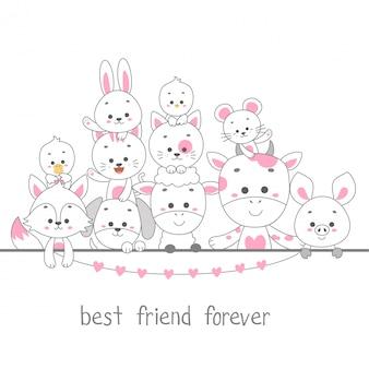 Meilleurs amis pour toujours. illustration vectorielle de mignon animal ligne art