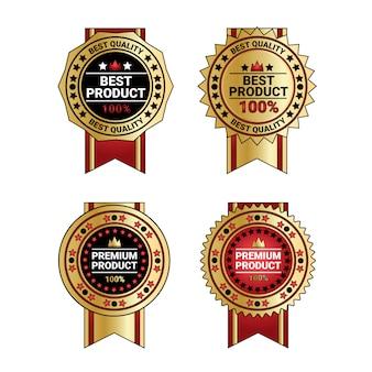 Les meilleurs badges de qualité de produit mis des médailles d'or avec la collection de rubans isolée