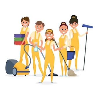 Meilleurs personnages du personnel de nettoyage isolés sur fond blanc