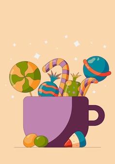 Mélange de bonbons pour une fête d'halloween jouer à un jeu de trucs ou de friandises pour tous les collectionner vecteur de style plat