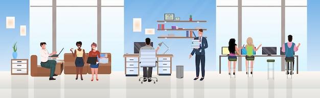 Mélange course hommes d'affaires employés réussi concept de travail d'équipe processus acharné espace ouvert créatif centre de co-travail moderne espace de travail armoire intérieur plat horizontal pleine longueur