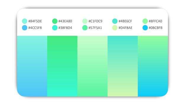 Mélange doux de dégradés de couleurs bleues et vertes