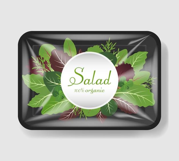 Mélange de feuilles de salade dans un récipient en plastique avec couvercle en cellophane. modèle pour votre conception. récipient de nourriture en plastique. illustration.