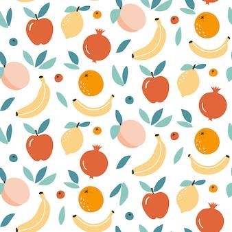 Mélange de fruits mignon design de fond transparente motif