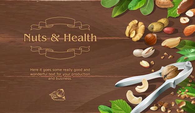 Mélange de noix brutes naturelles sur fond de bois