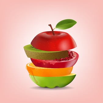 Mélange sain de fruits créatifs