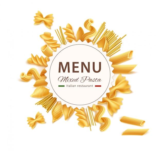 Mélange sec de pâtes italiennes réalistes de vecteur pour le menu