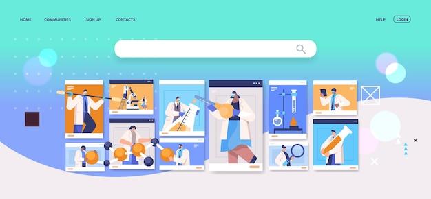 Mélanger des chercheurs de race travaillant avec des tubes à essai dans des fenêtres de navigateur web des scientifiques réalisant des expériences chimiques en ingénierie moléculaire de laboratoire