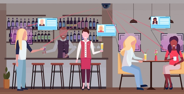 Mélanger les gens de course se détendre dans le bar boire des cocktails barman et serveuse servir les clients identification reconnaissance faciale concept caméra de sécurité surveillance système de vidéosurveillance plat horizontal