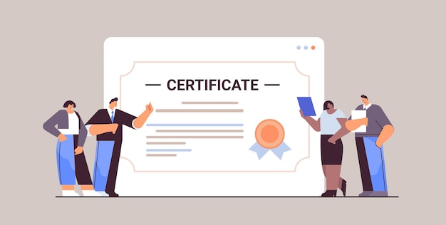 Mélanger les hommes d'affaires diplômés de course près d'un énorme certificat diplômés heureux célébrant le diplôme universitaire diplôme concept d'éducation en entreprise horizontale pleine longueur