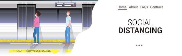 Mélanger les passagers du métro de course dans des masques de protection en gardant la distance pour empêcher le coronavirus dans les transports publics concept de distance sociale espace copie horizontale
