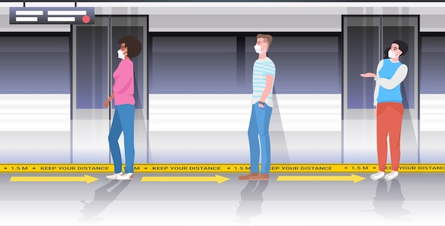 Mélanger les passagers du métro de course dans des masques de protection en gardant la distance pour empêcher le coronavirus dans les transports publics de distance sociale concept horizontal