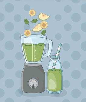 Mélangeur avec fruits et bouteille préparation saine