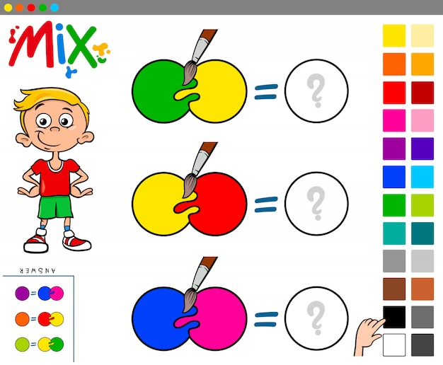 Mélangez les couleurs du jeu éducatif pour les enfants