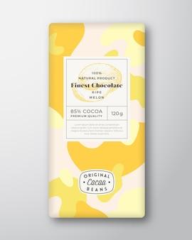 Melon chocolat étiquette formes abstraites vecteur mise en page de conception d'emballage