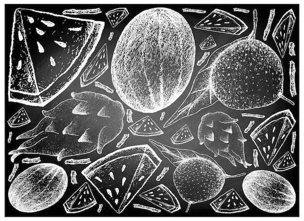 Melon d'eau, fruit de dragon et fond de pamplemousse