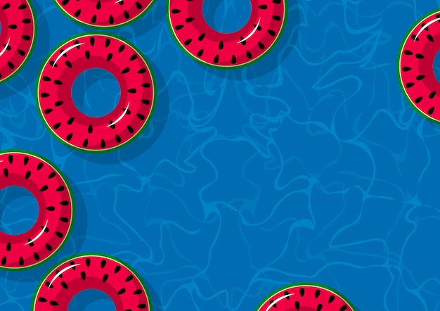 Melon d'eau gonflable dans la piscine avec espace de copie