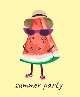 Melon d'eau en illustration de dessin animé de costume d'été