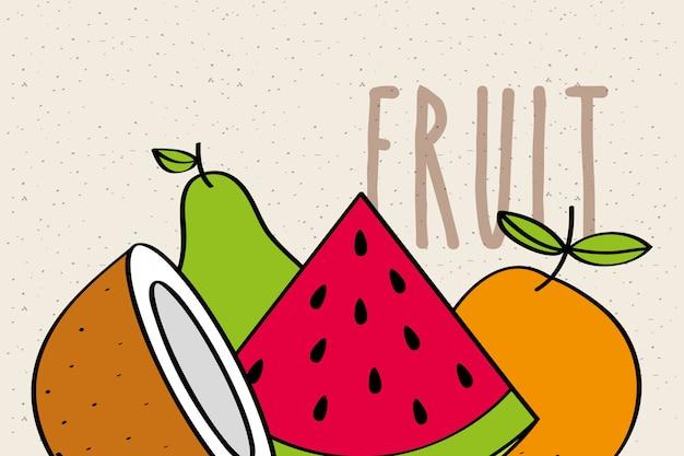 Melon d'eau noix de coco orange poire fruit savoureuse bannière