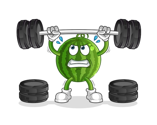 Melon d'eau soulevant la mascotte de personnage d'haltères