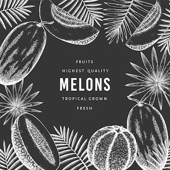 Melons aux feuilles tropicales. fruits exotiques dessinés à la main sur tableau noir. fond de fruits de style rétro.