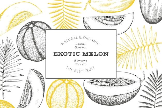Melons avec modèle d'étiquette de feuilles tropicales