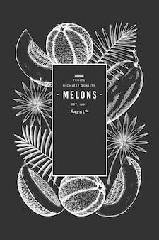 Melons et pastèques avec modèle de feuilles tropicales.